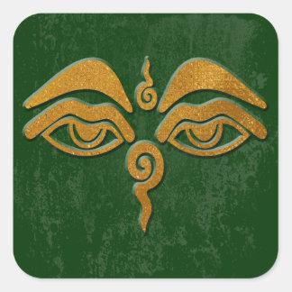 wisdom eyes - gold square sticker