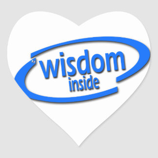 Wisdom Inside - Funny Intel Parody Heart Sticker