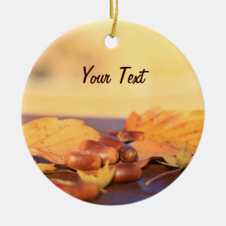 Wisdom Miraculous Common Acorns Autumn Leaves Ceramic Ornament
