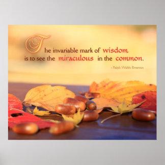 Wisdom Miraculous Common Acorns Autumn Leaves Print