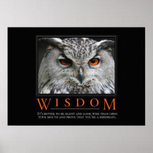Wisdom Motivational Parody Poster at Zazzle