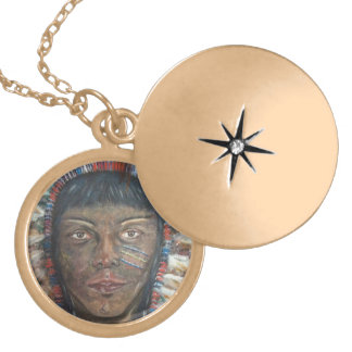 """""""Wisdom"""" Native American In Headdress Gold Plated Necklace"""