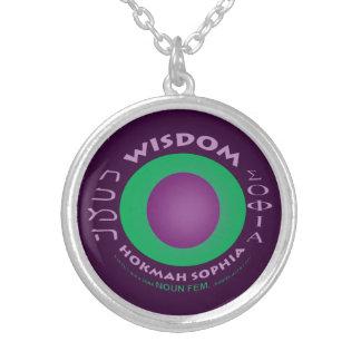 Wisdom necklace-purple background round pendant necklace