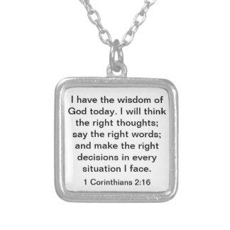 Wisdom of God bible verse 1 Corinthians 2:16 Square Pendant Necklace