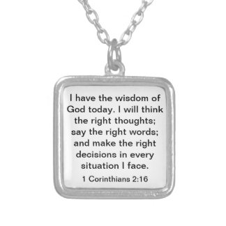 Wisdom of God bible verse 1 Corinthians 2:16 Silver Plated Necklace
