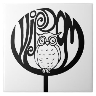 Wisdom owl in a tree large square tile