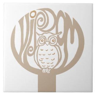 Wisdom owl in a tree tile