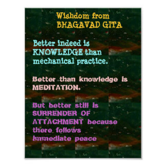 WISDOM Quotes from Bhagavad Gita Poster