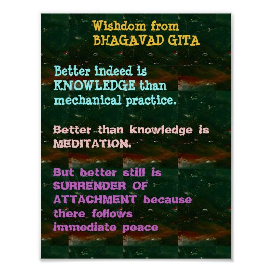 Persistence Motivational Quotes: WISDOM Quotes From Bhagavad Gita Poster