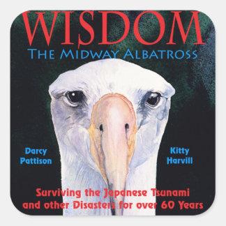 """WISDOM, the Midway Albatross"" Book Cover Art Square Sticker"
