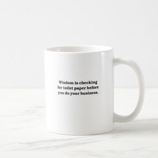 Wisdom (toilet paper check) classic white coffee mug