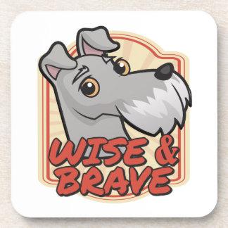Wise and Brave Schnauzer Beverage Coaster