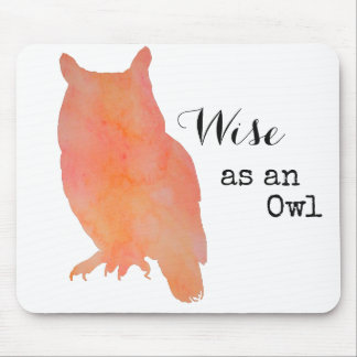 Wise as an Owl Typographical Watercolor Mouse Pad