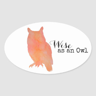 Wise as an Owl Typographical Watercolor Oval Sticker