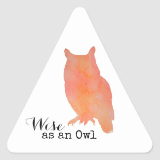 Wise as an Owl Typographical Watercolor Triangle Sticker