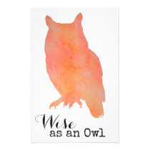 Wise as an Owl Woodland Watercolor Stationery