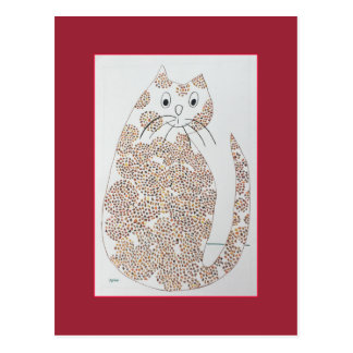 Wise Brown Spotted Cat Postcard