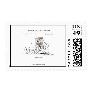 Wise Crack Owl Cartoon Real U.S. Postage Stamps