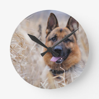 Wise German Shepherd Puppy Round Clock