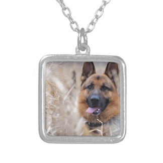 Wise German Shepherd Puppy Silver Plated Necklace