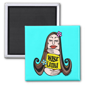 Wise Latina Woman 2 Inch Square Magnet