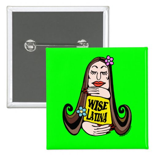 Wise Latina Woman Pinback Buttons