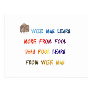 Wise man learn more from fool than fool learn ... postcard
