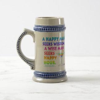 Wise Man Seeks Happy Hour Beer Stein Mug