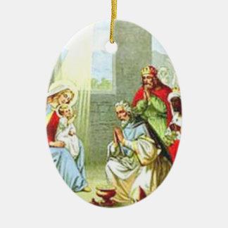 Wise Men At The Nativity Ceramic Ornament