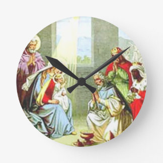 Wise Men At The Nativity Round Wallclocks