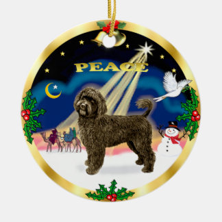 Wise Men -Brown Portuguese Water Dog Double-Sided Ceramic Round Christmas Ornament