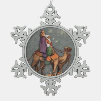Wise Men, Camel Vintage Art Snowflake Ornament