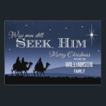 """Wise Men Still Seek Him Christmas Sign<br><div class=""""desc"""">A lovely,  seasonal yard sign with the 3 wise men seeking Jesus.  A beautiful display for your lawn this festive Christmas season. (Best displayed with a staked,  flood light and has a solid black background to make the front image really stand out).</div>"""