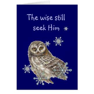 Wise Men Still Seek Him Quote Owl Bird Card