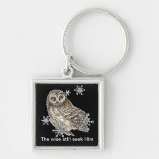 Wise Men Still Seek Him Quote Owl Bird Keychain