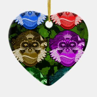 Wise Monkey Face Mask Ceramic Ornament