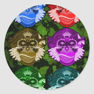 Wise Monkey Face Mask Classic Round Sticker