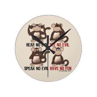 Wise Monkeys Humour Clock