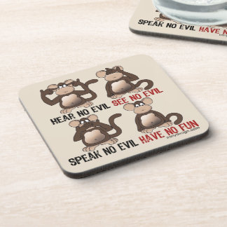 Wise Monkeys Humour Beverage Coasters