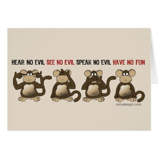 Wise Monkeys Humour Greeting Card
