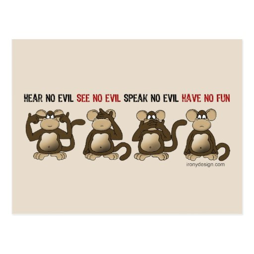 Wise Monkeys Humour Post Card