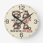 Wise Monkeys Humour Round Wall Clock