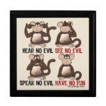 Wise Monkeys Humour Trinket Box