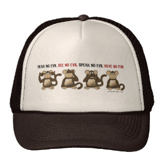 Wise Monkeys Humour Trucker Hat