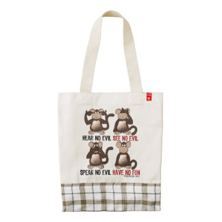 Wise Monkeys Humour Zazzle HEART Tote Bag