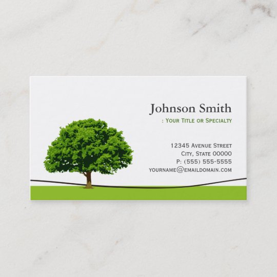 wise oak tree symbol professional tree service business card - Tree Service Business Cards