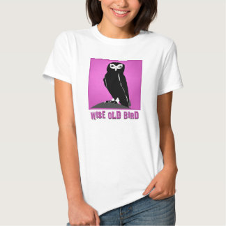 Wise Old Bird T-Shirt  -  Owl in Cerise