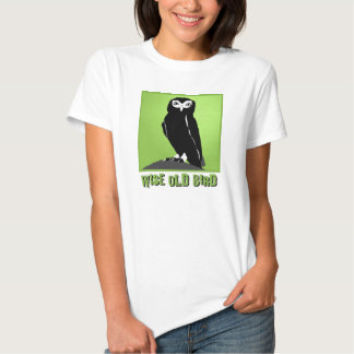 Wise Old Bird T-Shirt  -  Owl in Green
