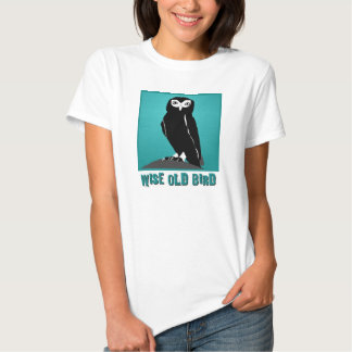 Wise Old Bird T-Shirt  -  Owl in Teal