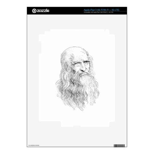 Wise Old Man Line Drawing Skin For iPad 3